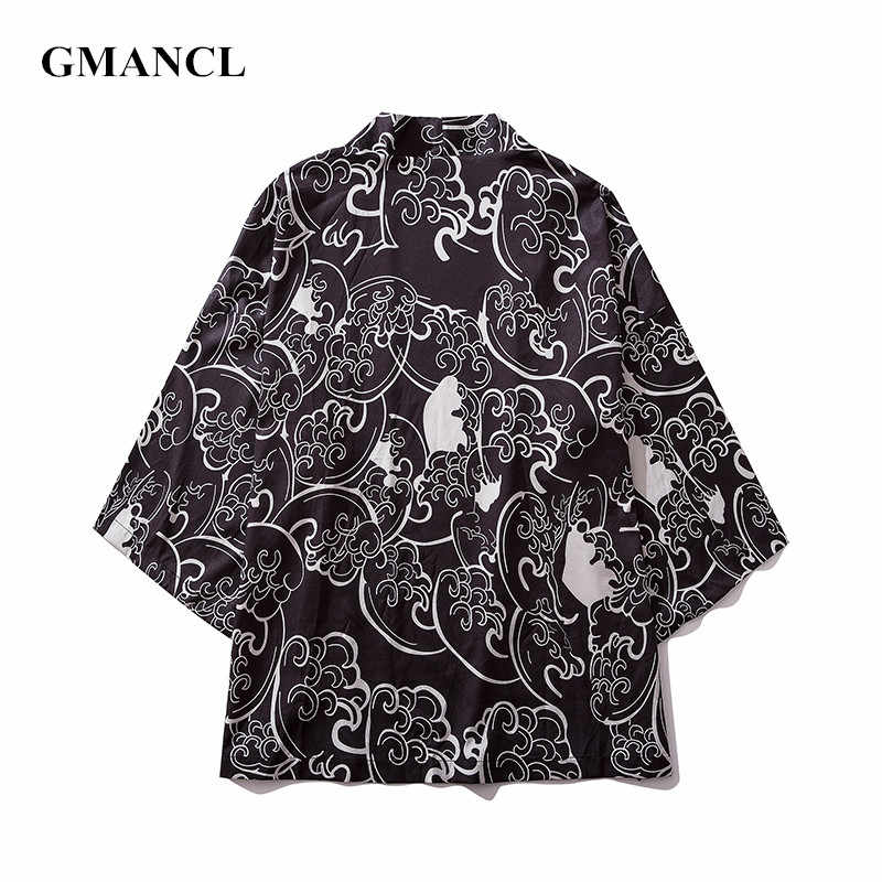 Zomer Nieuwe Mannen Oversized Streetwear Koi Japanse Stijl Vest Jassen Fashion Gedrukt Hip Hop Mannelijke Kimono Jacket jassen