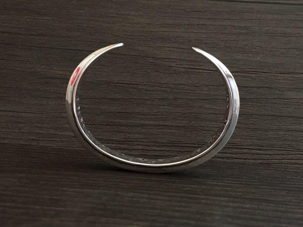 Moda superior plata 925 Simple brazalete brazaletes y pulsera hombres 100% sólida plata esterlina 925 Real para hombre joyería Vintage estilo indio - 6