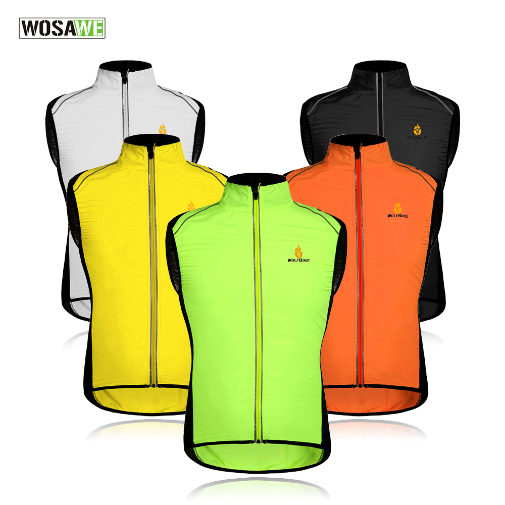 WOSAWE Cycling Vest Men Waistcoat Reflective Clothing Windcoat Breathable Bike Jacket Bicycle Cycle Sleeveless Jerseys 5 COLORS