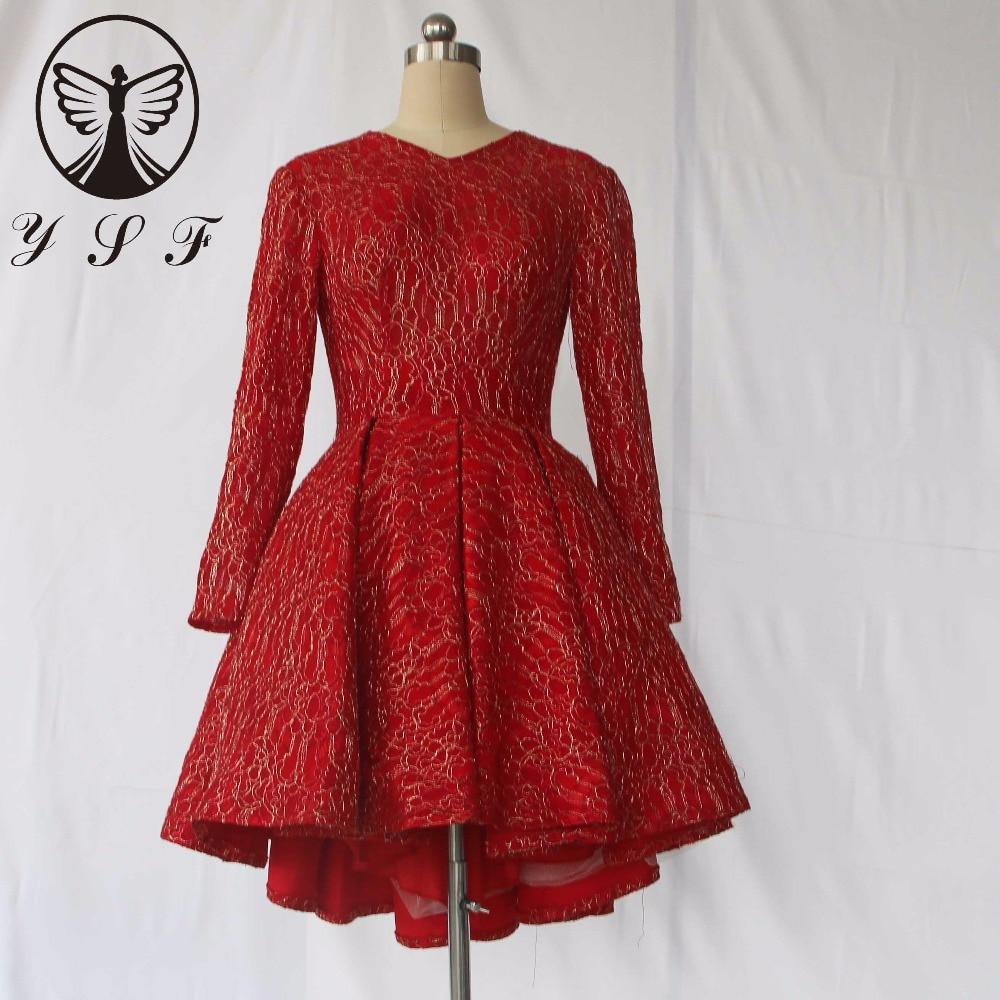 2017 Fashion Red V Neck Lace Long Sleeve Pleated Keyhole Back Short Front Long Back Cocktail Dresses