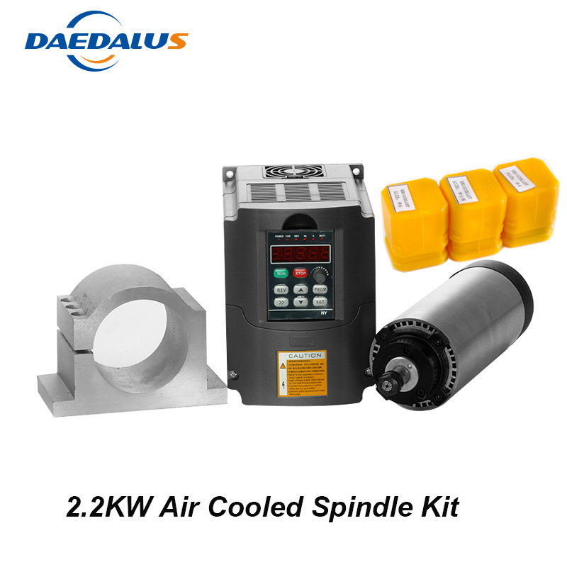Free Shipping CNC Spindle 2.2KW Air Cooled Spindle Motor Kit 2.2KW 220V 110V VFD Inverter Converter 80MM Clamp 3pcs ER20 Collet free shipping cnc spindle 2 2kw 220v 110v air cooled spindle motor machine 80mm er20 collet router tools for milling