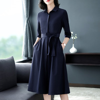 Office Lady Brief Navy Turn Down Collar Shirt Dress With Bow Sashes Slim Three Quarter Sleeve A Line Mid Calf Casual Dresses 4XL