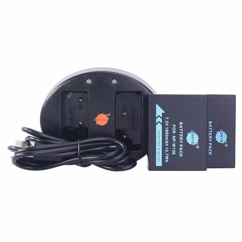 DSTE 2 PCS NP-W126 np-w126 NP-W126S Caméra Batterie Avec USB Double Chargeur pour Fuji HS50 HS35 HS33 HS30EXR XA1 XE1 X-Pro1 XM1 X-T10
