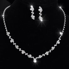 Silver Tone Crystal Tennis Choker Necklace Set Earrings Factory Price Wedding Bridal Bridesmaid African Jewelry Sets 14F3AF067(China)