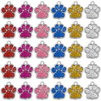 Wholesale 60pcs/lot Glitter Paw Pet ID Tags Stainless Steel Personalized Puppy Cat ID Tag For Small Dogs and Cats Engraved