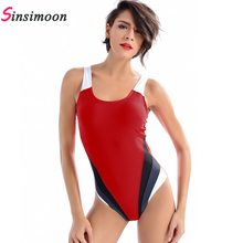 2019 One Piece Swimsuit Women Red Swimwear Quick Dry Bathing Suit New Patchwork Swimming Proffessional Training Monokini