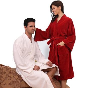 Cutting velvet bathrobe women nightgown men sleepwear blanket towel robe thickening lovers long soft  autumn winter