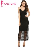 ANGVNS Bodycon Floral Lace Party Maxi Dress Women's Sexy Lace V-neck Spaghetti Strap Backless Long Dresses Elegant Vestidos Robe