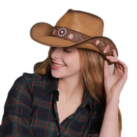 01907 shi Women flower Straw Western Cowboy Hat For Summer Elegant Lady Cowgirl Sombrero Hombre Caps Handmade Embroidery Hats