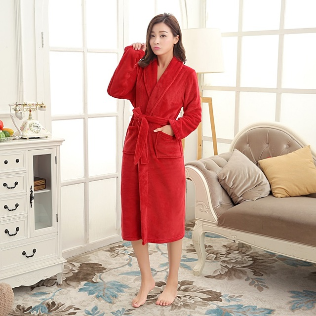 4a33b9d03f Female Nightwear Thick Warm Flannel Solid Kimono Bath Robe Mujer Pyjama  Winter Sleep lounge Nightgown Bridal