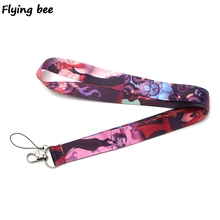 Flyingbee Maleficent Keychain lanyard Badge Lanyards Mobile Phone Rope Keyring Key Lanyard Neck Strap Accessories X0255