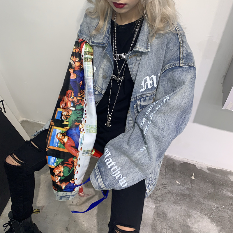 Classical Oil Painting Graffiti Loose BF Couple Denim Jacket Women Jeans Jacket Spring Coats 2020 Female Chaqueta Mujer NZY52