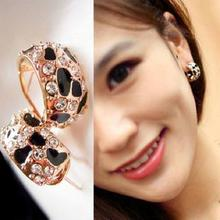 Free Shipping Exquisite Beautiful Shiny Rhinestone Crystal Leopard Stud Earrings for Women Jewelry E148