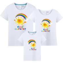 Summer Family Matching Outfits T shirt Mom Dad Son Daughter Rainbow T Shirts Family Mother Father Kids Matching outfits Tees недорого