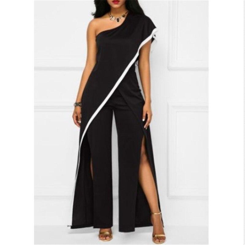2018 Summer Fashion Women Jumpsuits Sexy Sleeveless Romper Elegant Playsuit Black Plus Size S -Xxl
