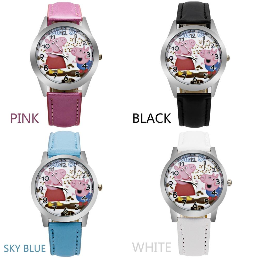 o1 2017 new piggy child quartz watch girl printing leather belt plastic shell cartoon child watch
