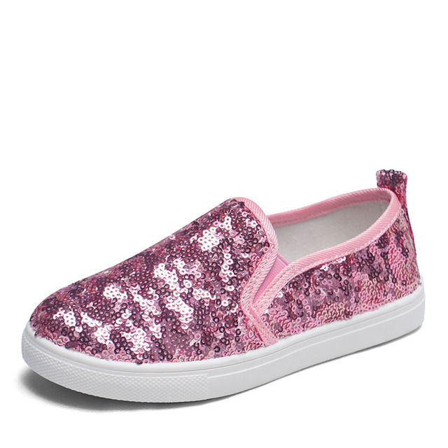 Silver Pink Black Children Shoes Shining Sequins Design Girls Boys Sneakers Fashion Casual Canvas Shoes Kids Flats