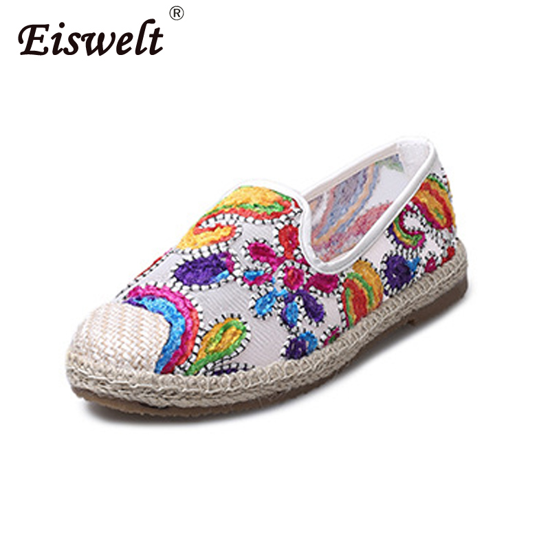 EISWELT 2018 Fashion Summer NEW Women Loafers Womens Shoes Fashion Korea Flat Shoes Women Black Canvas Shoes Fisherman Shoes eiswelt women summer flats hollow shoes female breathable ladies new shoes flat fashion women casual shoes women s loafers