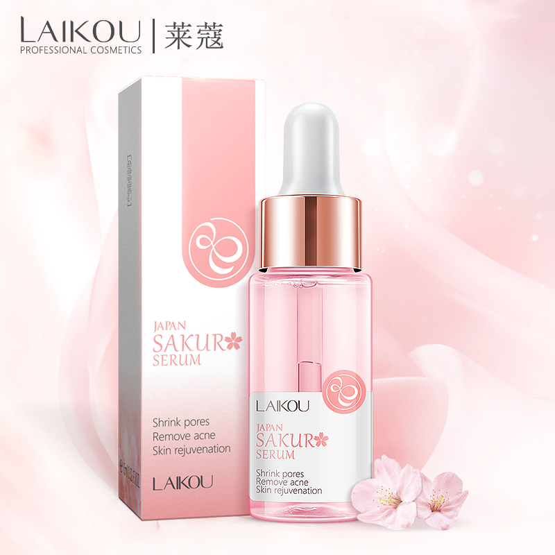 LAIKOU Sakura Face Serum Japan Skin Care Shrink Pores Remove Acne Liquid Moisturizing Face Essence Brighten Skin Serum 15ML