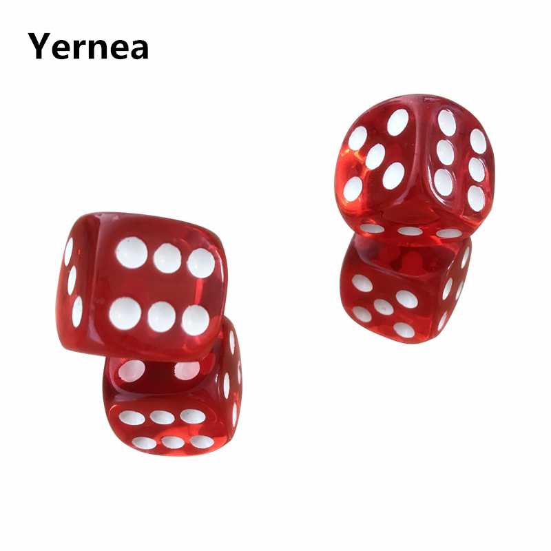 Yernea 6Pcs/Lot 19mm Red Transparent Dice Acrylic Rounded Corner Drinking Dice Nightclub Bars KTV Entertainment Dice Set