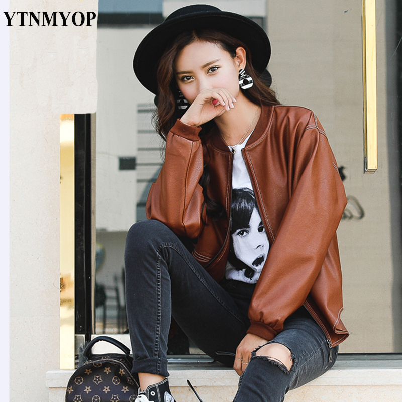YTNMYOP Casual Autumn Loose   Leather   Coat Women O-Neck Casual Zipper   Leather   Clothing Outerwear Brown   Suede   High Street