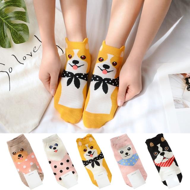 Cute 2018 Spring Funny Socks Cotton Korean Fashion Teddy Corgi