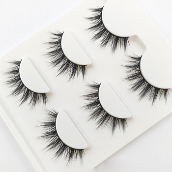 3D-09 Natural Tapered Black Terrier False Eyelashes Fashion Ball Smoke Makeup Fake Eyelashes Cross Messy Soft 3D Eye Lashes