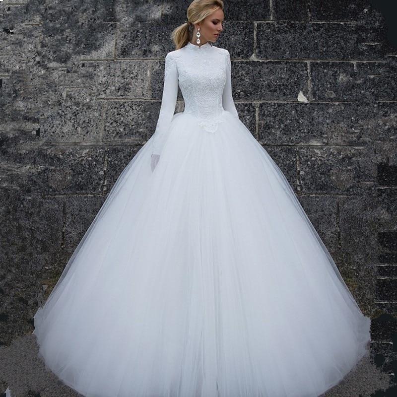Vivian Wedding Gown: Vivian's Bridal 2018 Muslim Long Sleeve High Neck Wedding
