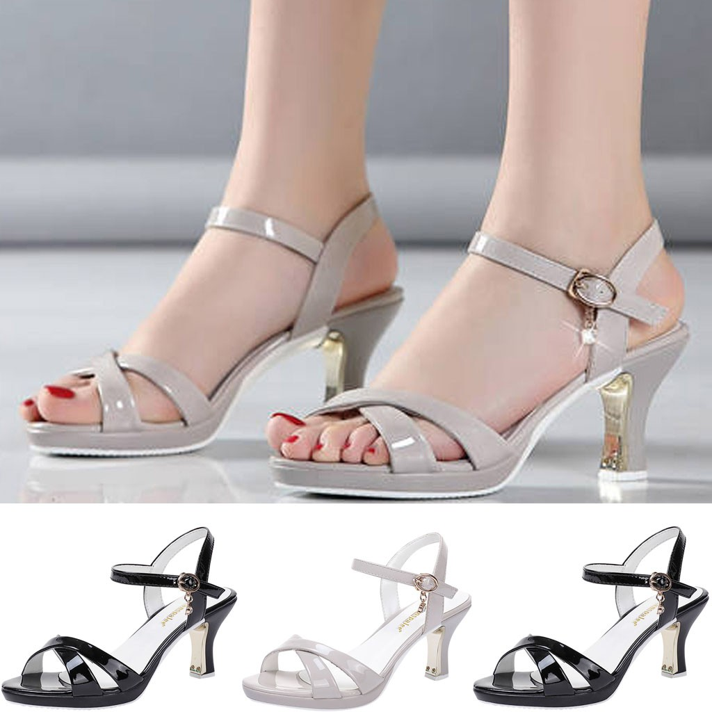 shoes woman2019 Fashion Women Patent Leather Pumps <font><b>High</b></font> <font><b>Heel</b></font> <font><b>Sexy</b></font> <font><b>Sandals</b></font> Wedding Party Shoes Femme <font><b>Platform</b></font> Sandalia Feminina#5 image