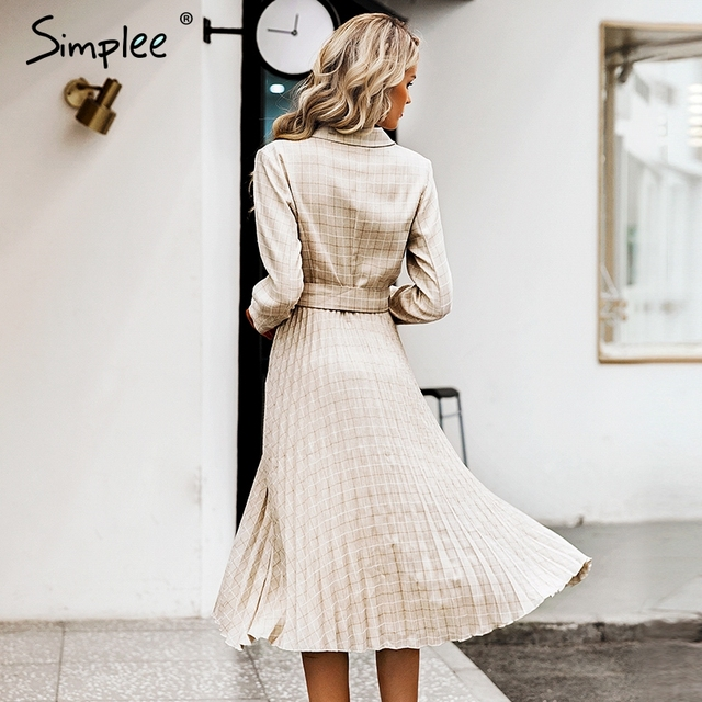 Simplee Vintage pleated belt plaid dress women Elegant office ladies blazer dresses Long sleeve female autumn midi party dress 2