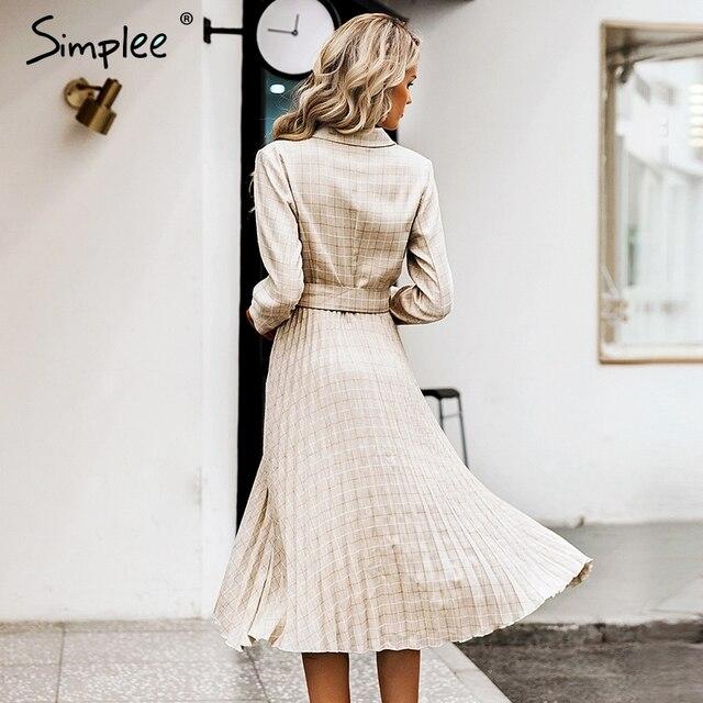 Simplee Vintage pleated belt plaid dress women Elegant office ladies blazer dresses Long sleeve female autumn midi party dress 4