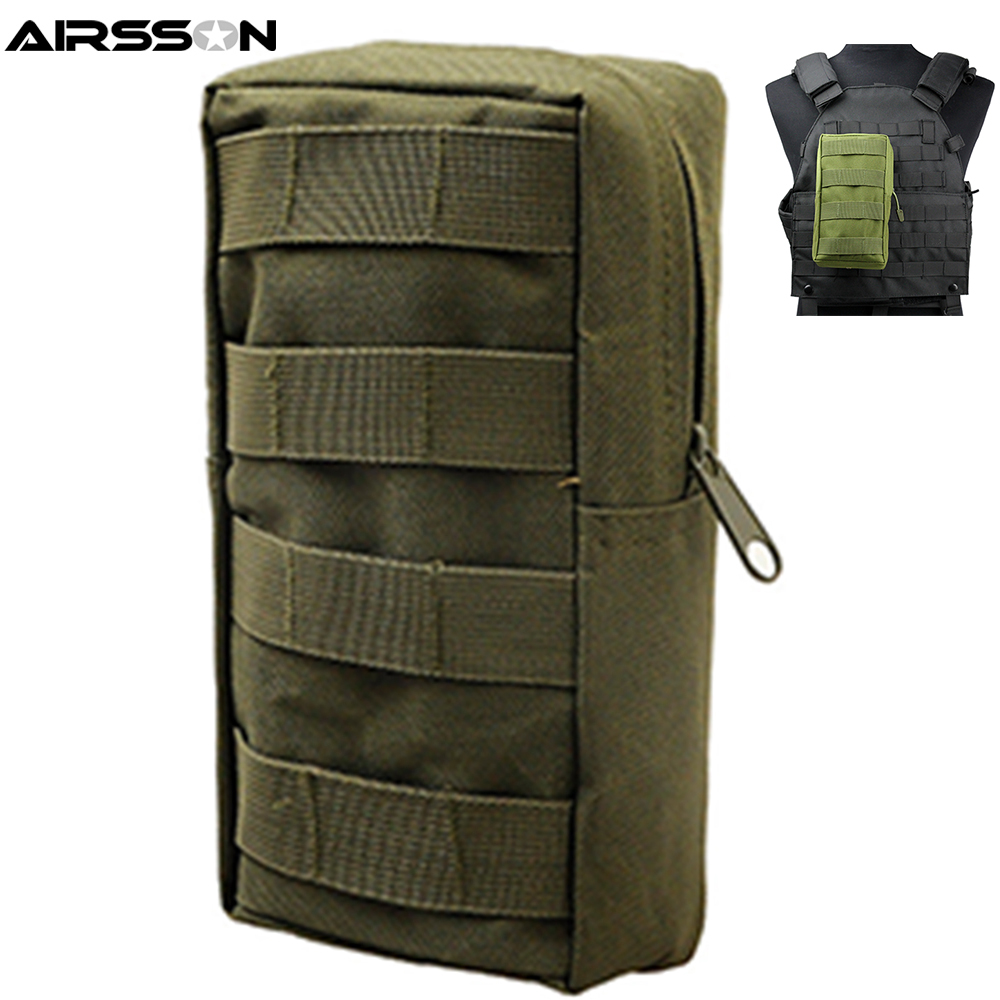 Airsson Airsoft Sports Military 600D MOLLE Pouch Bag Tactical Utility Bags Vest Gadget Hunting Waist Pack Outdoor Equipment airsoftpeak military molle waist bag tactical edc pouches outdoor belt utility pouch tool zipper waist pack hunting bags
