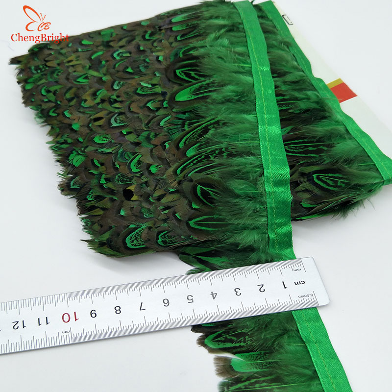 CHENGVRIGHT 4-8cm 10 Yards/lot Pheasant Feather Cloth Belt FeathersTrim Fringe, Feather Trim Selectable For Dress/Christmas