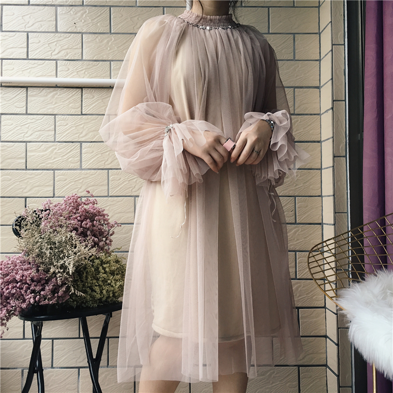 2018 spring new female gauze dress half female high collar trumpet sleeve long sleeve loose dress women's dresses chrismas 2
