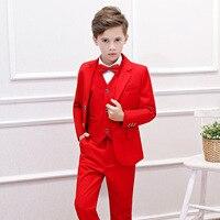 Красная куртка для мальчиков + рубашка + брюки + жилет 5/6 шт Костюмы комплект костюм мальчиков Формальный праздничные наряды для Дня благодар