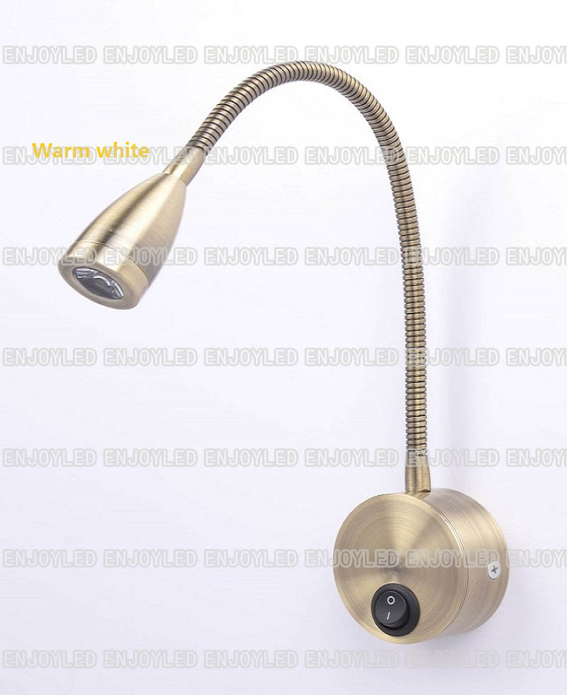 220v 3w Warm White LED Flexible Gooseneck Reading Lamp Wall Bedside Light Rotation Arm Touch Switch Stalk Lamp Golden Aluminum new flexible rotating lamp night reading light 85v 220v 3w flexible hose led bedside wall bedroom lamp warm white light modern