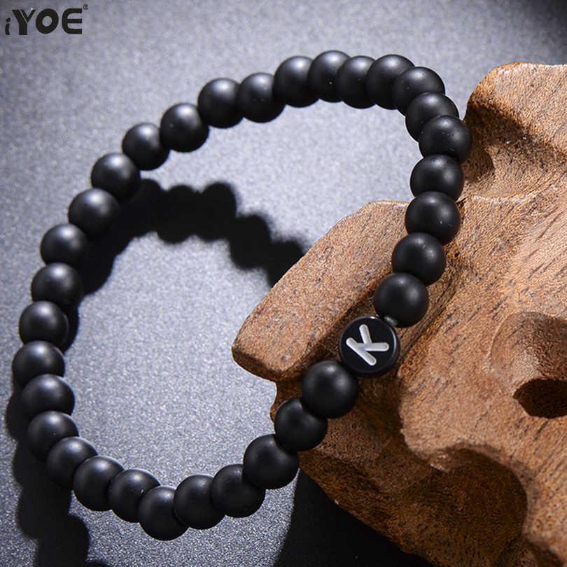 IYOE 6 มม.ลูกปัด DIY 26 สร้อยข้อมือสำหรับผู้หญิงผู้ชาย Handmade อักษรคู่สร้อยข้อมือมิตรภาพเครื่องประดับยืดหยุ่น