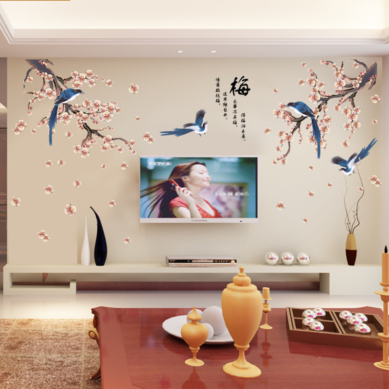 Maruoxuan pink tree magpie birds pared pegatinas living room decor diy hogar cal