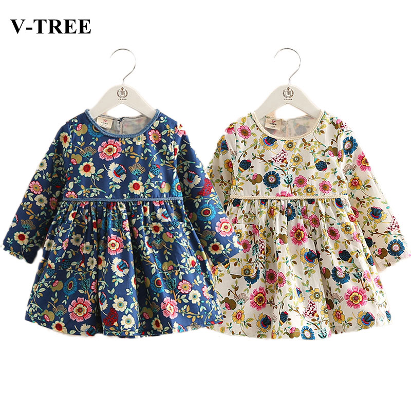 V-TREE Autumn girls dress floral princess dresses for girls long sleeve school dress children clothing kids dresses for girls belababy baby girls preppy style dress princess children autumn double breasted cute kids casual long sleeve dresses for girls