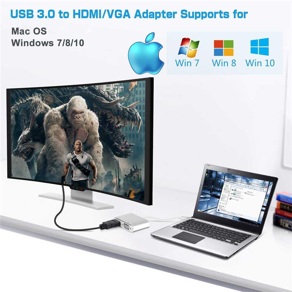 2020 USB 3,0 a HDMI VGA adaptador Mac OS USB a VGA HDMI adaptador 1080P convertidor compatible con HDMI y VGA Salida de sincronización para Windows7/8/10