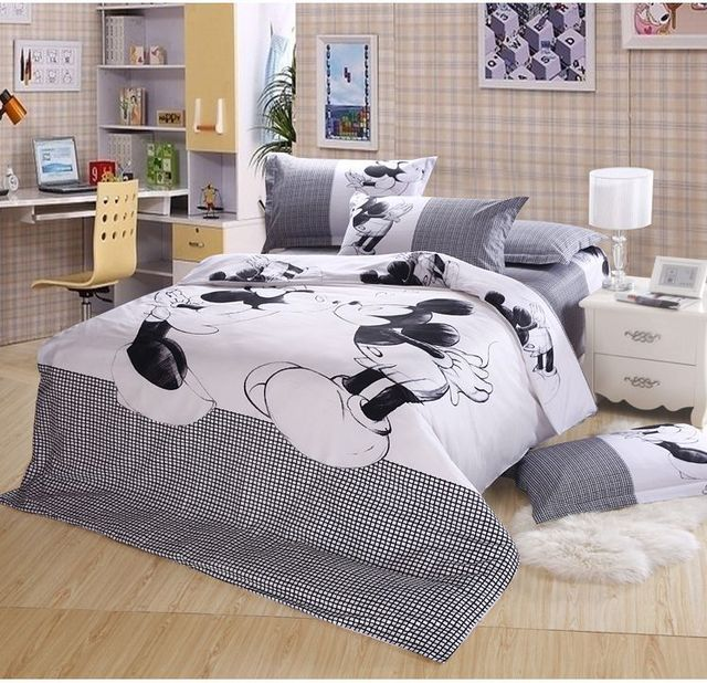 100cotton bedding mickey mouse bedding sets 100cotton 4pcs bedding sets minnie mouse - Mickey Mouse Bedding