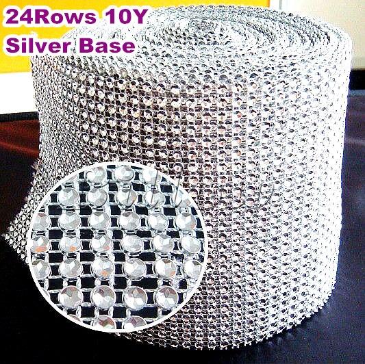 Silver Wedding Diamond Sparkle  Rhinestone Mesh Trim 4mm 10yards 24 rows Plastic base Party Decorations Cake Ribbon Strass B2225