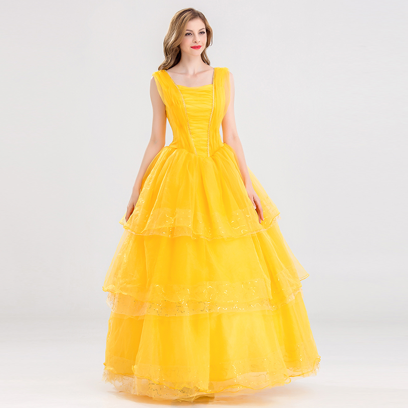 2017 Movie Beauty and The Beast Cosplay Costume Halloween Party Costumes Belle Princess Yellow Dress For Adult Women Girls Dress