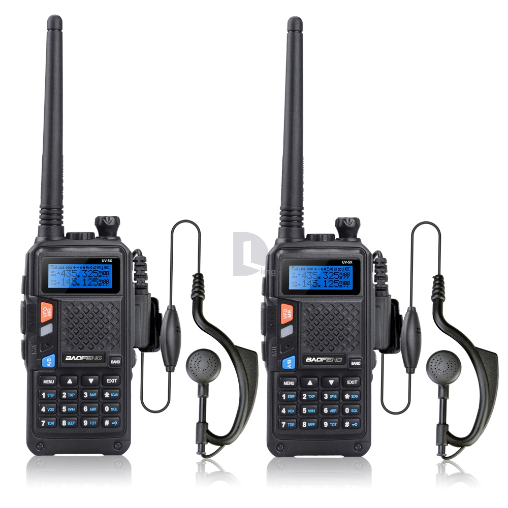 2 pcs BAOFENG UV-5X Talkie Walkie Version Améliorée de Baofeng UV-5R UHF + VHF Deux-Way Radio FM Fonction w/Original Carte Principale
