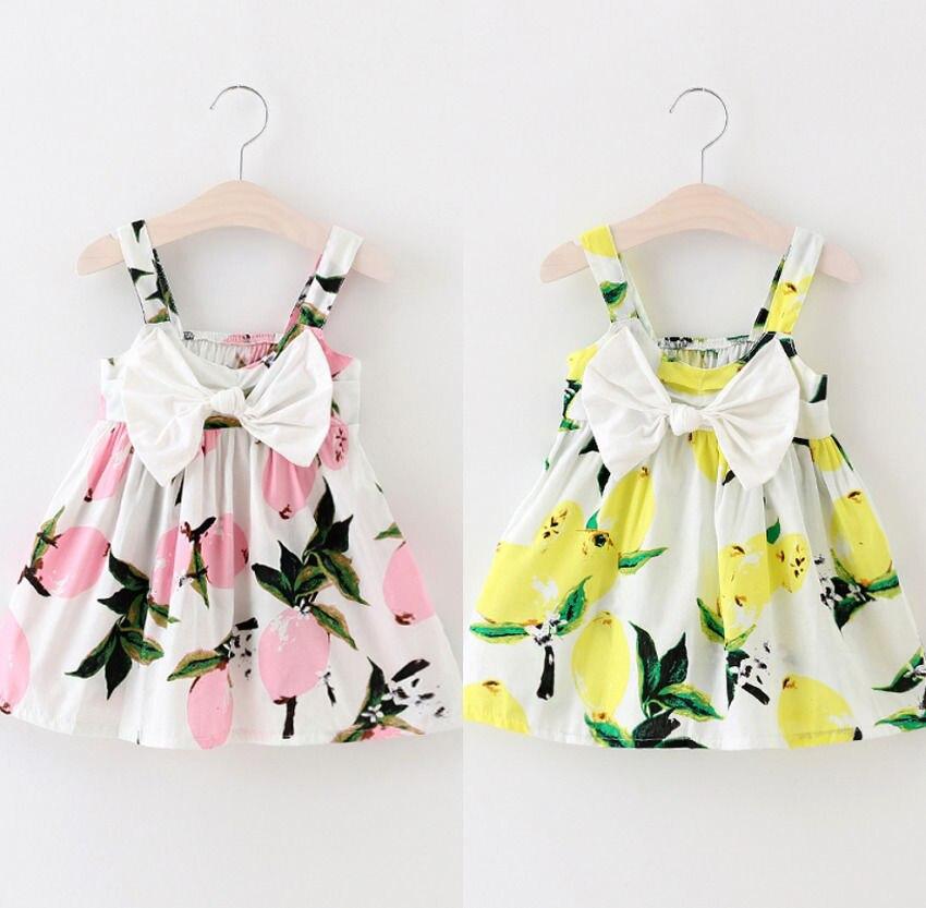 87f089604 Summer Toddler Infant Kids Baby Girls Dress Floral Lemon Bownot ...