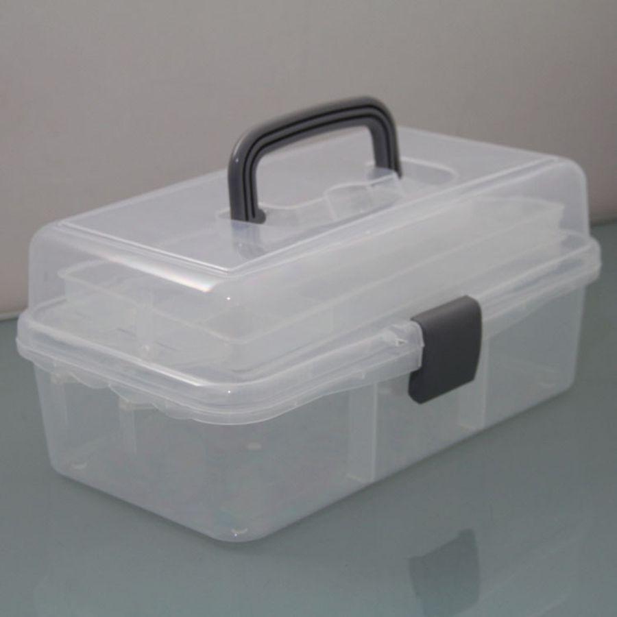 1 Pcs Big Lagerung Transparent Gefaltet Werkzeug Box Arbeit-box Spielzeug Werkzeug Fall Farbe Beschichtung Kosmetische Werkzeuge Box