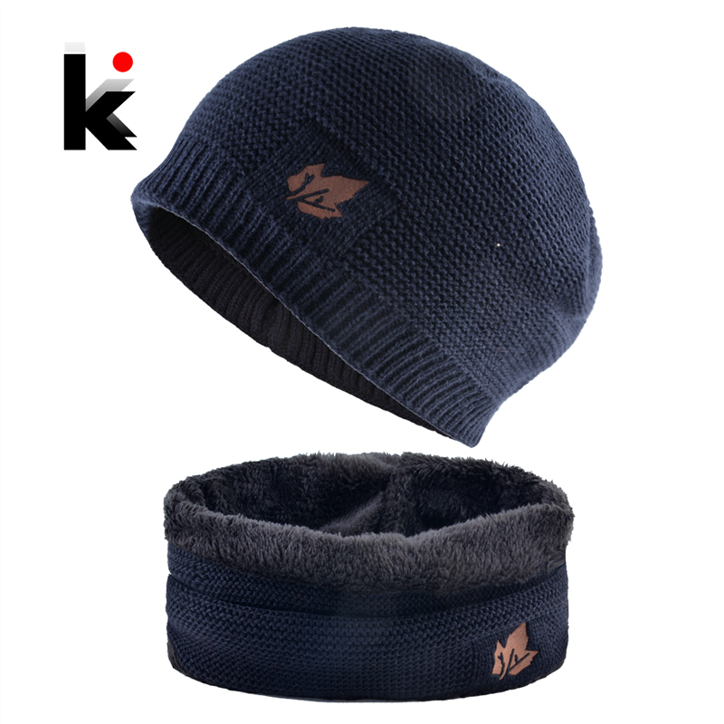 2018 Men Winter Hat Scarf Sets Fashion Maple Leaf Knitted   Skullies     Beanies   Man Thick Add Velvet Knit Bonnet Cap Boys Scarves Set