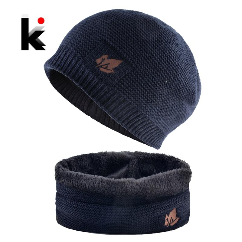 Men Winter Hat Scarf Sets Fashion Maple Leaf Knitted Skullies Beanies Man Thick Add Velvet Knit Bonnet Cap Boys Scarves Set