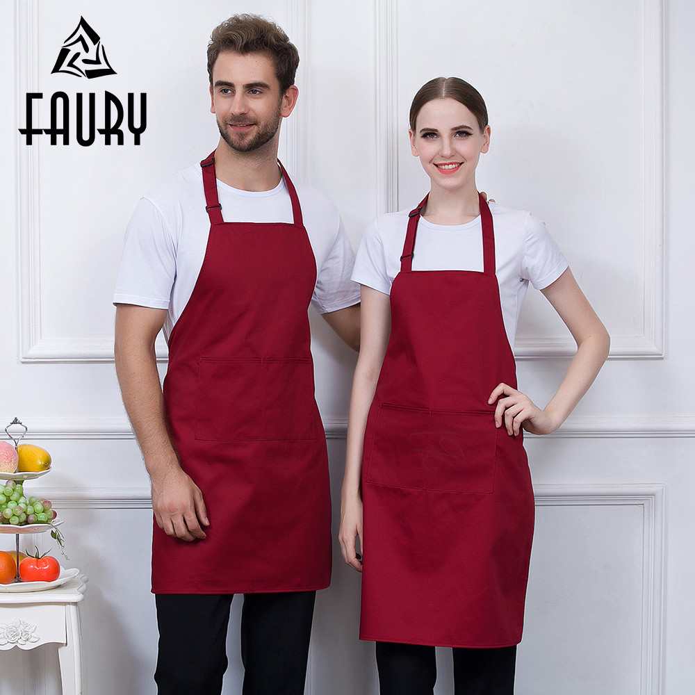 6 Color Adjustable Halter Neck Apron Solid Long Pocket Chef Workwear Restaurant Hotel Food Service Waiter Work Uniform BBQ Apron