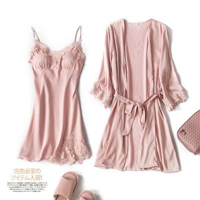 New Design Spring Summer Women 39 s Luxury Robe And Gown Sets Elegant Embroidery Suspender Bathrobe 2Pcs Sets Soft Sleepwear in Robe amp Gown Sets from Underwear amp Sleepwears